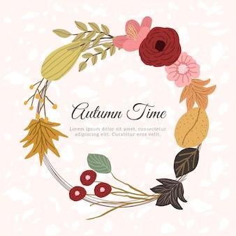 Beautiful autumn floral frame