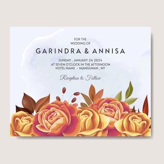 Beautiful autumn floral  wedding invitation card template