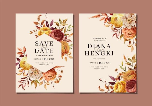 Beautiful autumn floral wedding invitation