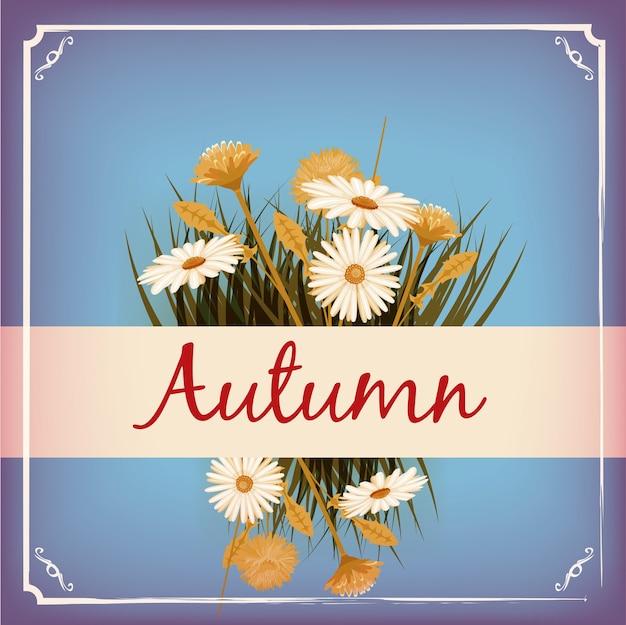 아름다운 가을 꽃, 잎, 꽃다발, 노랑, 갈색, 오렌지