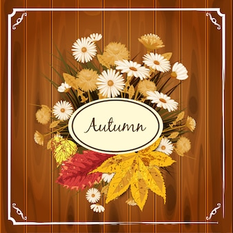 Beautiful autumn flowers, leaves, bouquet yellow brown