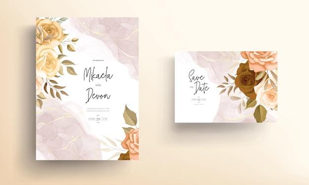 アルコールインクで美しい秋の花の結婚式の招待カード