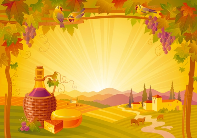 Beautiful autumn landscape. fall countryside with grapes, vineyard, wine bottle and cheese. thanksgiving and wine festival vector illustration.