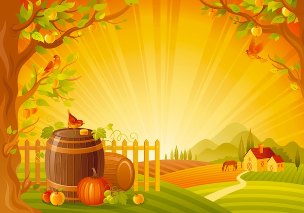 Beautiful autumn landscape. fall countryside with pumpkin and barrels. thanksgiving and harvest festival vector illustration.