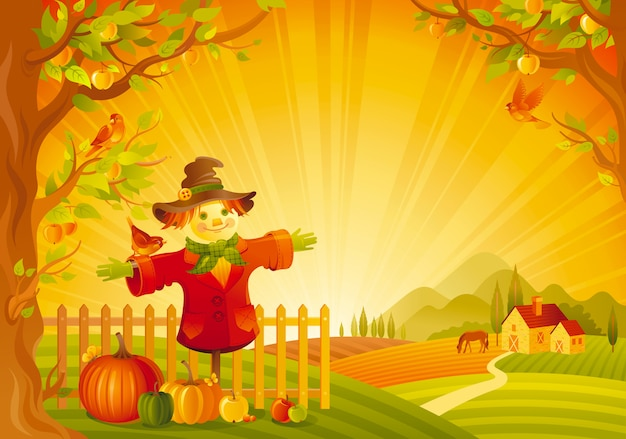 Beautiful autumn landscape. fall countryside with scarecrow and pumpkin. thanksgiving and harvest festival vector illustration.