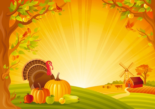 Beautiful autumn landscape. fall countryside with turkey and pumpkin. thanksgiving and harvest festival vector illustration.