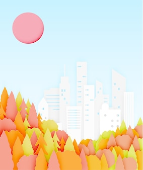 Beautiful Autumn leaves and city paper cut style