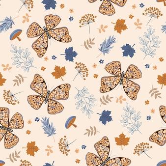 枝と蝶の花のシームレスなパターンイラストベクトルeps10の美しい秋の気分