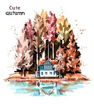 森、家、湖のある美しい秋の自然。