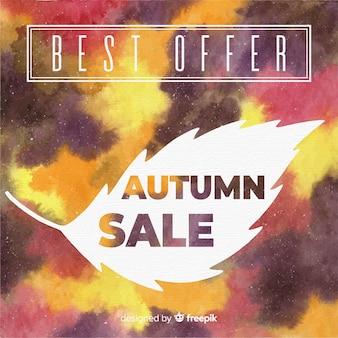 水彩スタイルの美しい秋の販売の背景