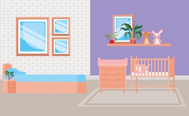 Beautiful baby bed room scene