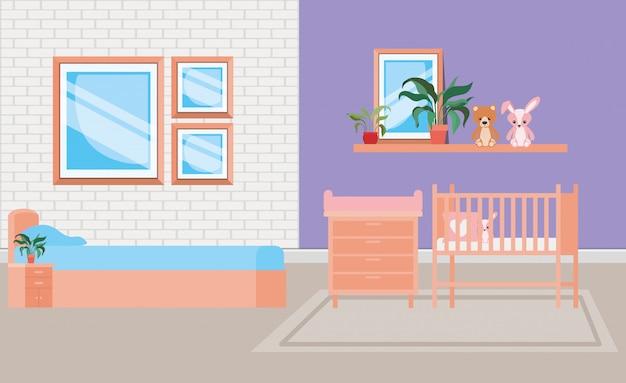Красивая детская кровать комната сцена
