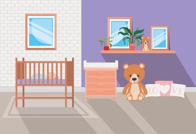 아름다운 아기 침대 방 장면