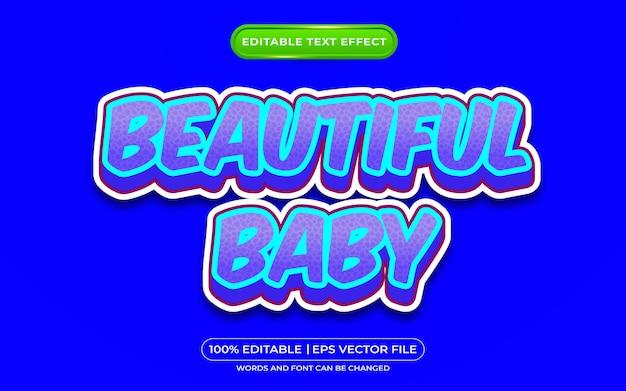 美しい赤ちゃんの編集可能なテキスト効果の漫画のスタイル