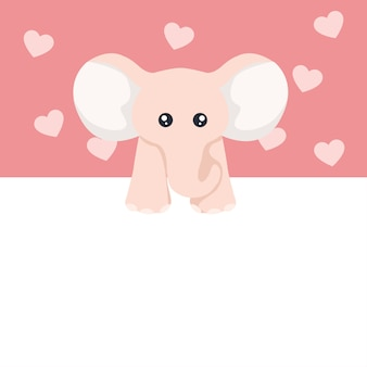 Beautiful baby elephant valentine card for dedication