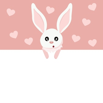 Beautiful baby rabbit valentines card with sign to write