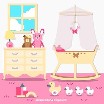 Красивая детская комната с розовой стеной