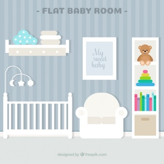 줄무늬 벽과 흰색 침대와 아름다운 아기 방