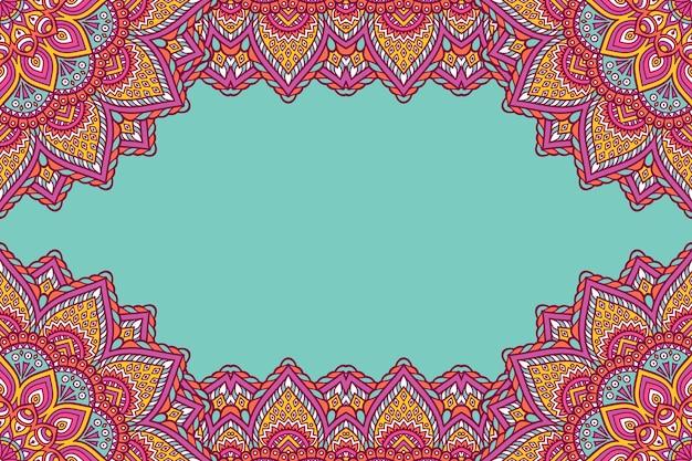 Beautiful background decorated with colourful mandala frame