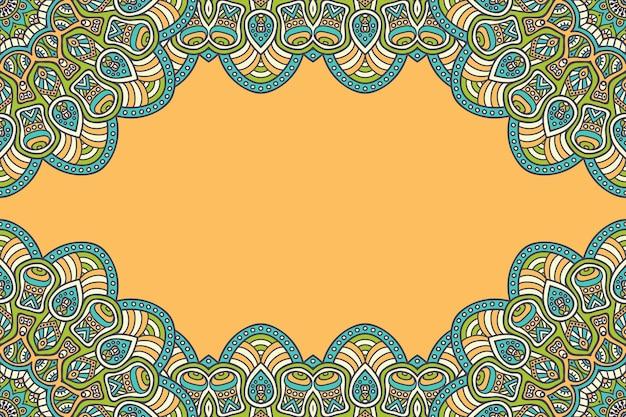 カラフルな曼荼羅フレームで飾られた美しい背景 無料ベクター