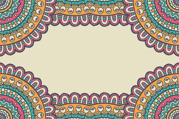 カラフルな曼荼羅フレームで飾られた美しい背景