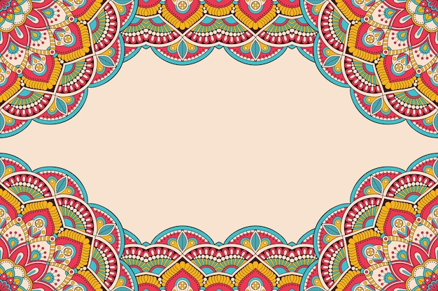Beautiful background decorated with colourful mandala frame