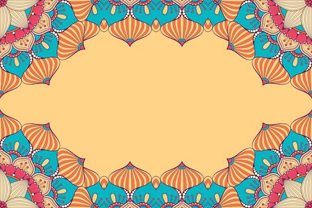 Красивый фон украшен красочной рамкой мандалы