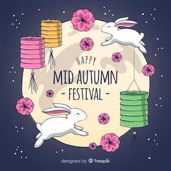 Beautiful background for mid autumn festival in hand drawn style