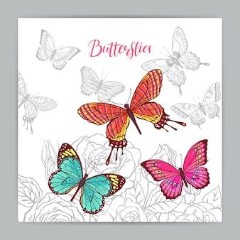 화려한 나비와 장미의 아름 다운 배경입니다. 손으로 그린 그림