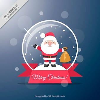 Beautiful background of snowglobe with smiling santa claus