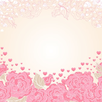 Beautiful background with flowers and flying hearts