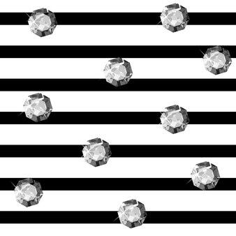 縞模様の背景のベクトル図に宝石と美しい背景