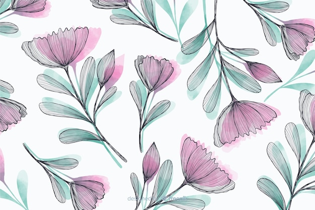 Beautiful background with hand drawn flowers