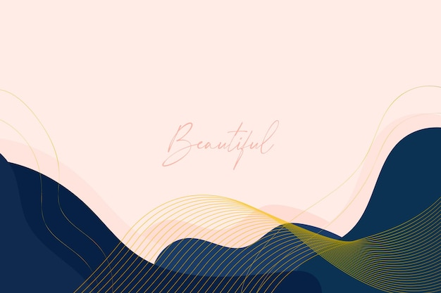 Beautiful background with organic shapes and golden lines