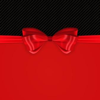 シルクの赤い弓とリボンで美しい背景。
