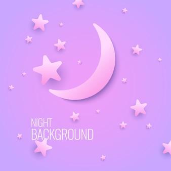 달과 별 파스텔 색상으로 아름 다운 배경. 삽화