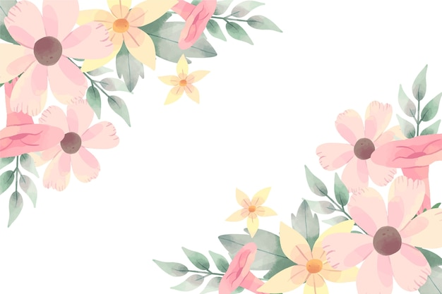 Beautiful background with watercolor flowers in pastel colors