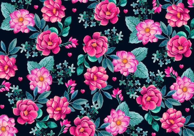 수채화 꽃과 함께 아름 다운 배경