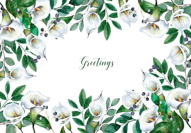 Beautiful background with watercolor flowers