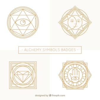 Beautiful badges of alchemy symbols