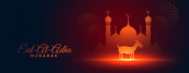 Beautiful bakra eid al adha festival banner design