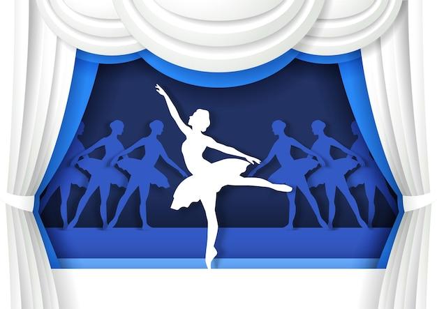 ペーパーアートクラフトスタイルの古典的なバレエダンサーのパフォーマンスでステージ上で踊る美しいバレリーナ