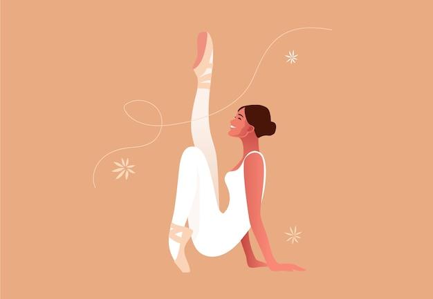Красивая балерина плоская иллюстрация. красота классического балета. молодая изящная женщина балерины пуанты, пастельные тона.