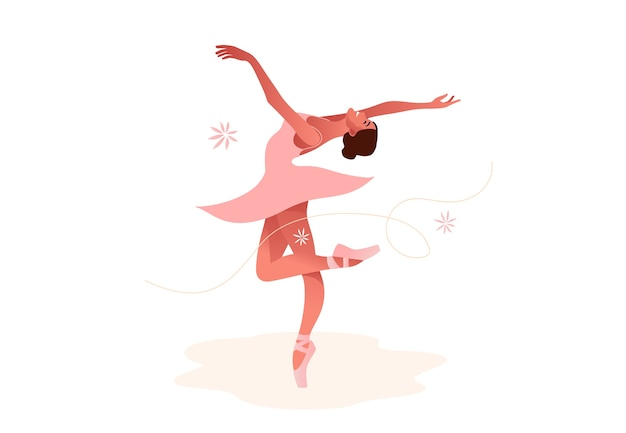 Красивая балерина плоский набор иллюстрации. красота классического балета. молодая изящная женщина балерина в балетной пачке. пуанты, пастельные тона.