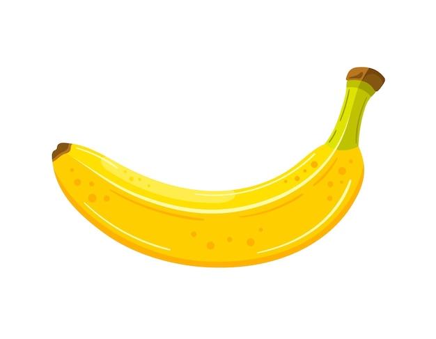 Красивый банан в мультяшном стиле, изолированные на белом фоне