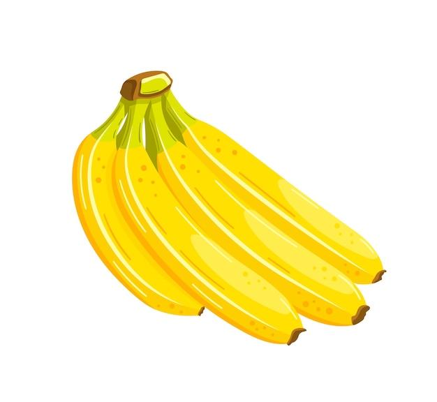 漫画風の美しいバナナ。フラットなデザイン。白い背景で隔離の黄色いバナナ。