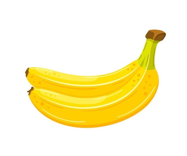 漫画風の美しいバナナ。フラットなデザイン。分離された黄色いバナナ。