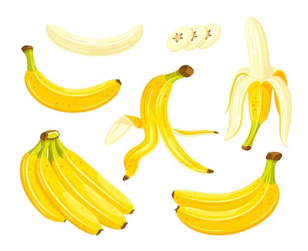漫画風の美しいバナナ。フラットスタイル