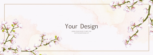 Beautiful banner cherry blossom template