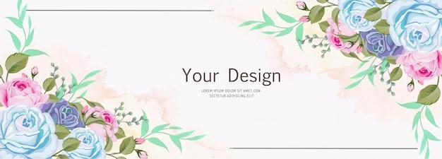 Красивый баннер цветочные и листья шаблон